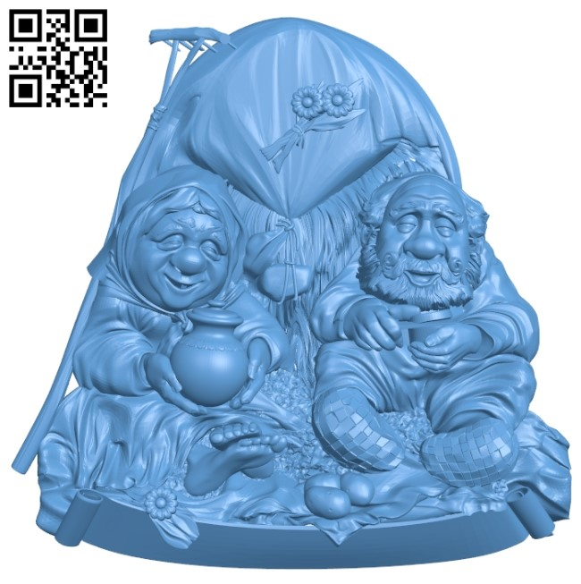 Two grandparents in the field A005924 download free stl files 3d model for CNC wood carving