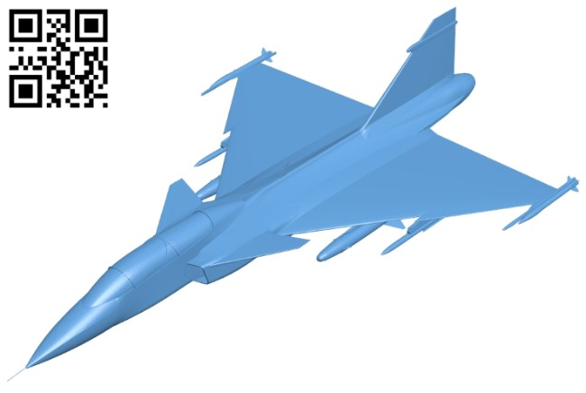 Airplane JAS 39 Gripen B009142 file obj free download 3D Model for CNC and 3d printer
