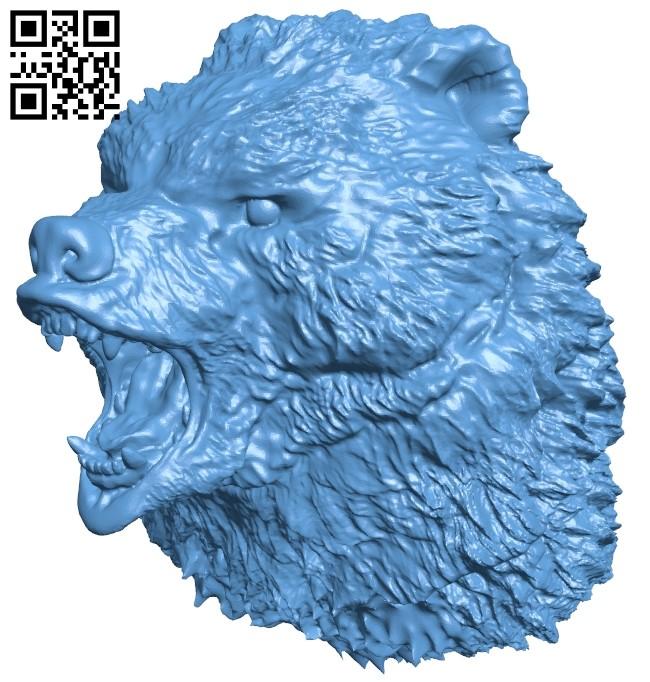 Bear Head B009108 file obj free download 3D Model for CNC and 3d printer