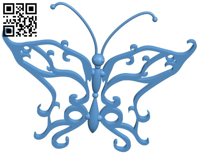 Butterfly pattern B009082 file obj free download 3D Model for CNC and 3d printer