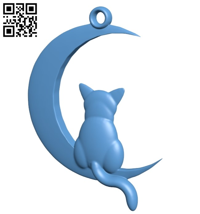 Cat and Moon - pendant B009154 file obj free download 3D Model for CNC and 3d printer