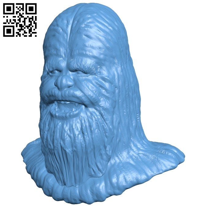 Chewbacca head B009073 file obj free download 3D Model for CNC and 3d printer
