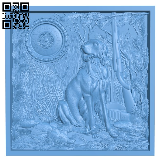 Clock painting dog hunting A006058 download free stl files 3d model for CNC wood carving