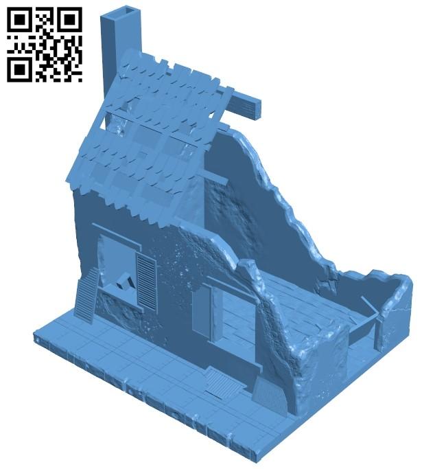 Destroyed house B009061 file obj free download 3D Model for CNC and 3d printer