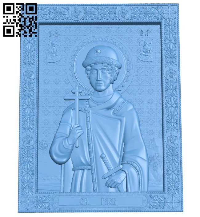 Icon Gleb Vladimirovich - Prince of Murom A006152 download free stl files 3d model for CNC wood carving