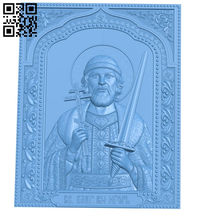 Icon Saint Igor A006075 download free stl files 3d model for CNC wood carving