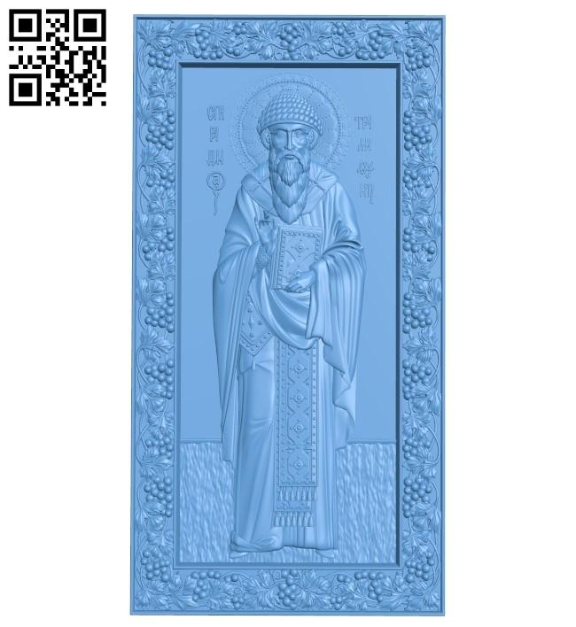 Icon Saint Spyridon A005995 download free stl files 3d model for CNC wood carving