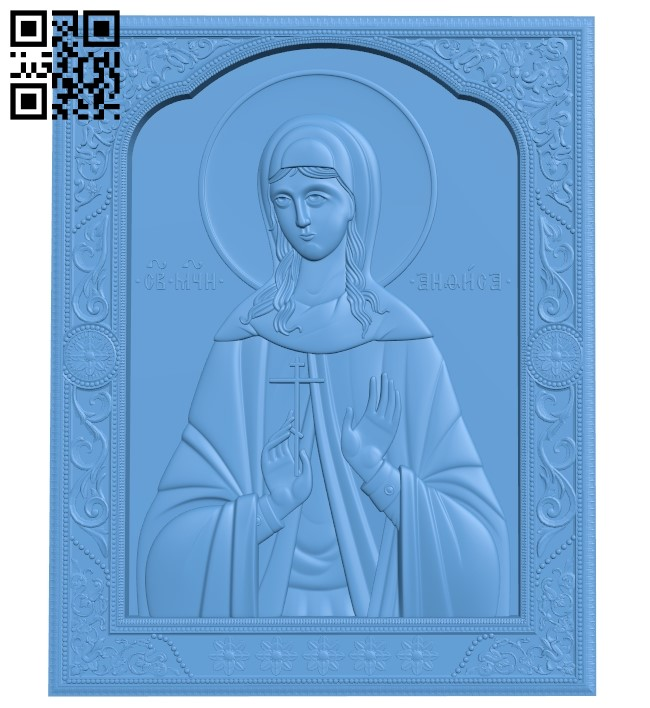 Icon of Anna Gorskaya A005997 download free stl files 3d model for CNC wood carving