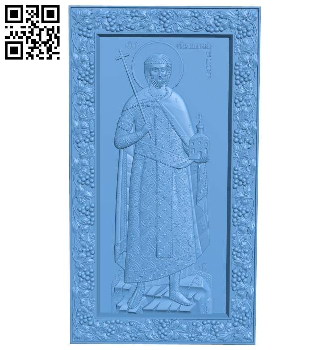 Icon of the Holy Martyr John-Vladimir, Prince of Serbia A006072 download free stl files 3d model for CNC wood carving