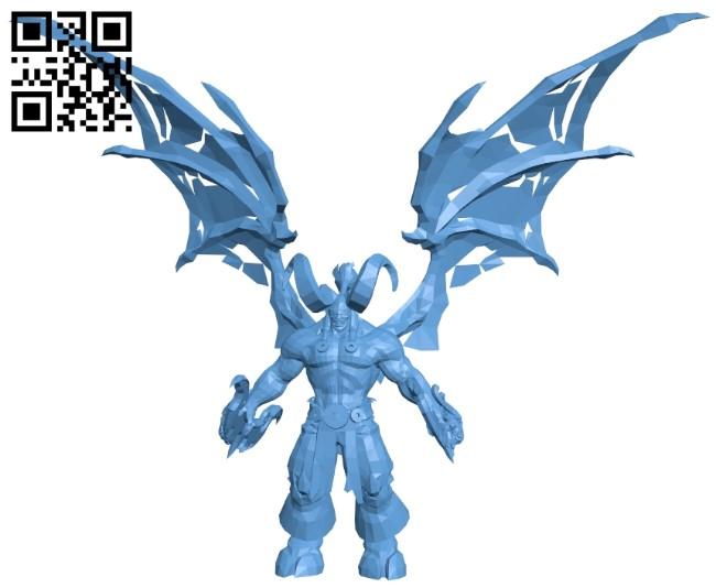 Illidan demon - dota2 B009056 file obj free download 3D Model for CNC and 3d printer