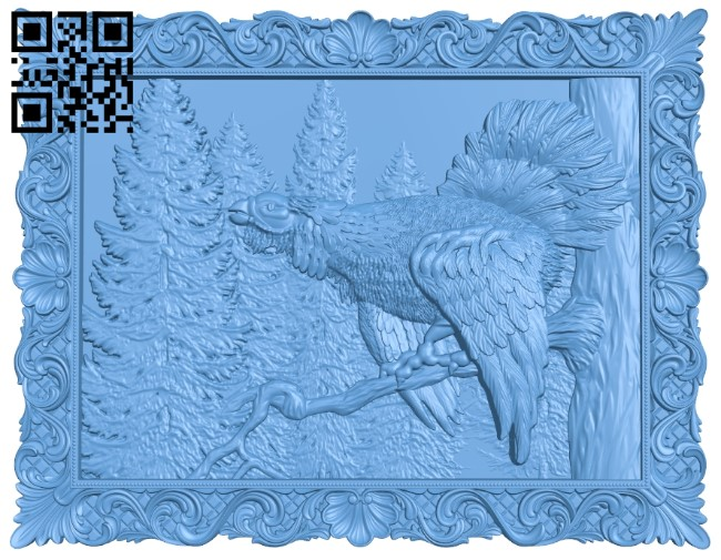 Image of a wild chicken on a tree A006083 download free stl files 3d model for CNC wood carving