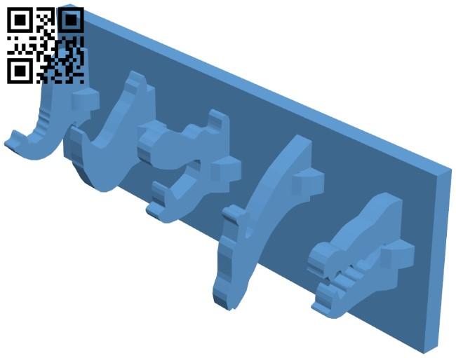 Kids coat rack animals B009130 file obj free download 3D Model for CNC and 3d printer