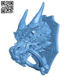 Knocker dragon head B009143 file obj free download 3D Model for CNC and 3d printer
