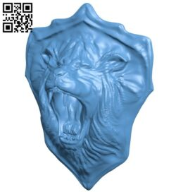 Lions Head Shield B009047 file obj free download 3D Model for CNC and 3d printer
