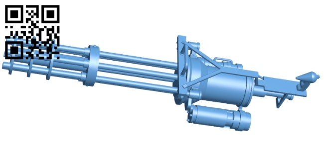 Machine gun barrel rotating gatling B009046 file obj free download 3D Model for CNC and 3d printer