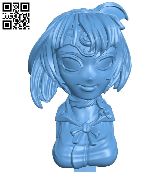 Miss mumei bust B009137 file obj free download 3D Model for CNC and 3d printer