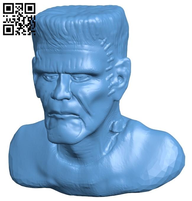 Mr Frankenstein head B009060 file obj free download 3D Model for CNC and 3d printer