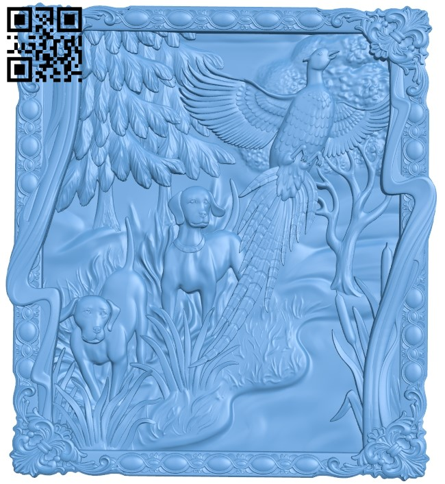 Painting of a dog hunting wild chicken A006059 download free stl files 3d model for CNC wood carving