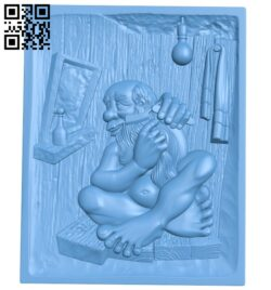 Painting of an old man sitting and shaving A006142 download free stl files 3d model for CNC wood carving