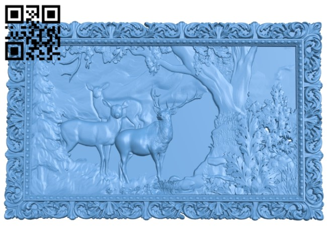 Pictures of deer in the forest A006050 download free stl files 3d model for CNC wood carving