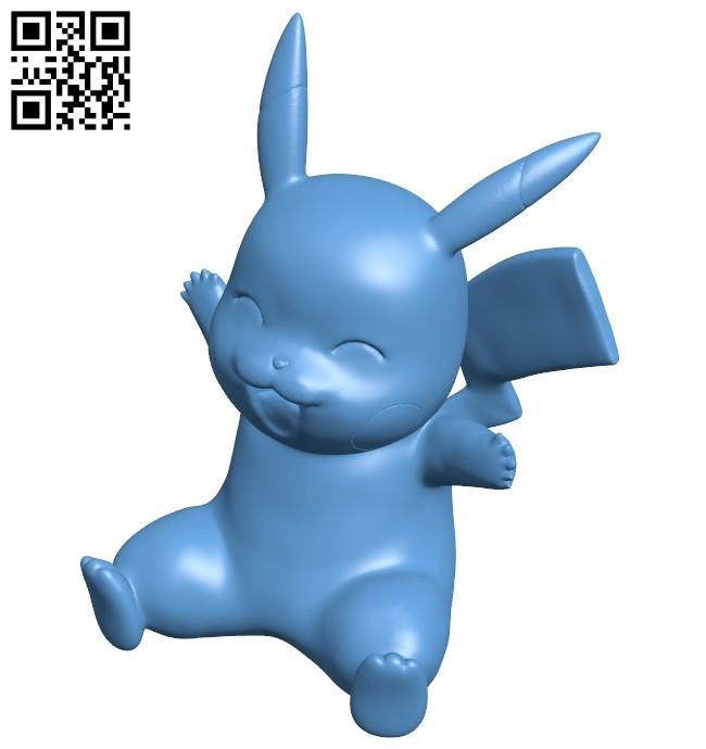 Pikachu - pokemon B009175 file obj free download 3D Model for CNC and 3d printer