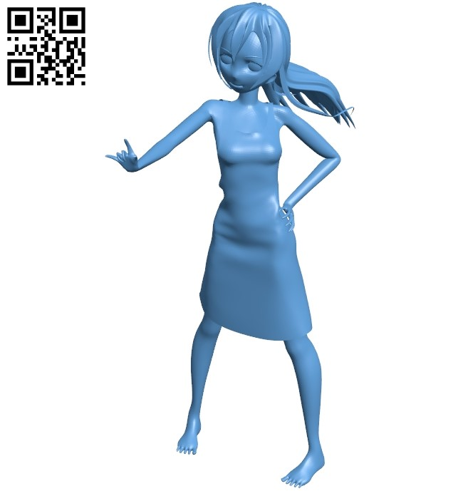 Positive girl B009115 file obj free download 3D Model for CNC and 3d printer