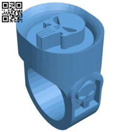 Punisher ring B009184 file obj free download 3D Model for CNC and 3d printer