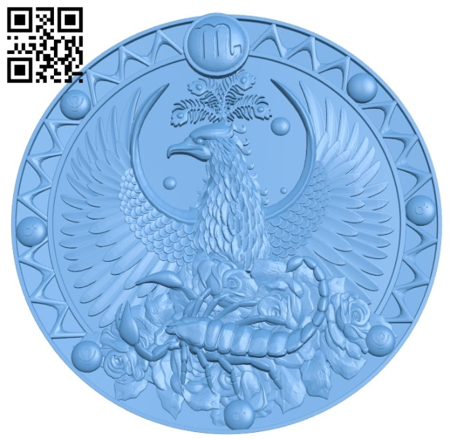 Scorpio - 12 signs of the zodiac A006038 download free stl files 3d model for CNC wood carving