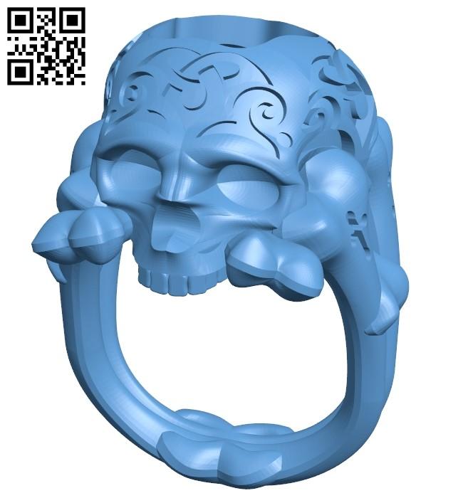 Skull ring B009139 file obj free download 3D Model for CNC and 3d printer