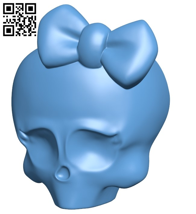 Skull with bow B009185 file obj free download 3D Model for CNC and 3d printer
