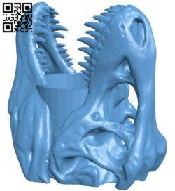 T-Rex Skull Pen Holder B009177 file obj free download 3D Model for CNC and 3d printer