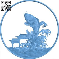 The image of the carp crossing the dance gate A006082 download free stl files 3d model for CNC wood carving