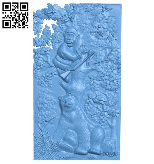 The picture of a hunter bear A006052 download free stl files 3d model for CNC wood carving