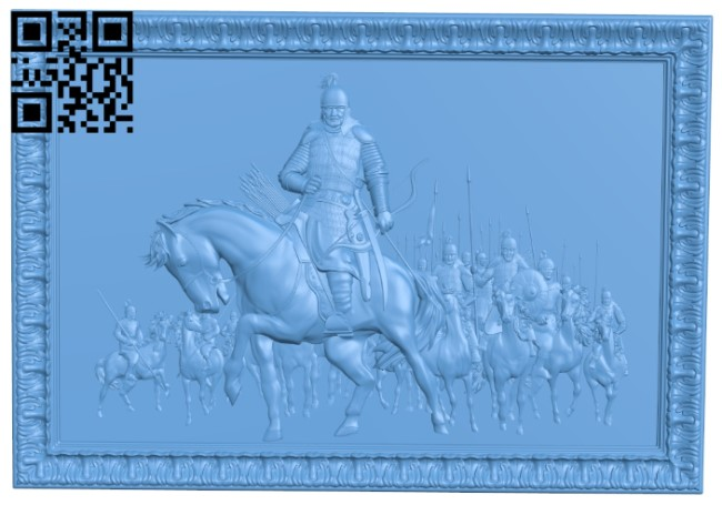 The picture of the general riding horse and archery A006020 download free stl files 3d model for CNC wood carving