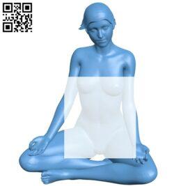 Women naked yoga B009147 file obj free download 3D Model for CNC and 3d printer