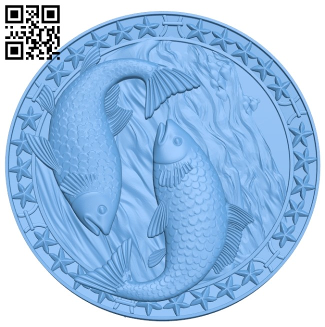 circular carp picture A006035 download free stl files 3d model for CNC wood carving