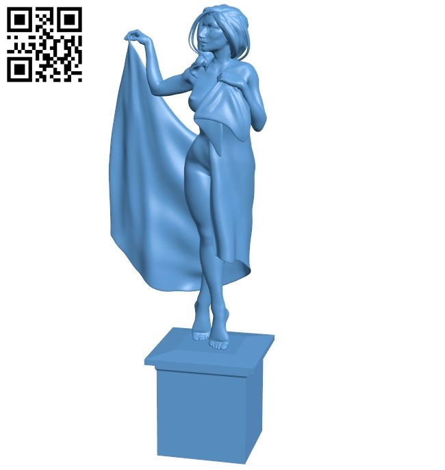 Posing with a towel - women B009123 file obj free download 3D Model for CNC and 3d printer