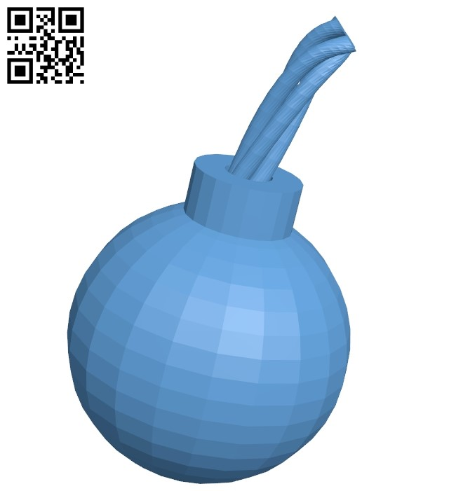 Bomb with wick B009275 file obj free download 3D Model for CNC and 3d printer