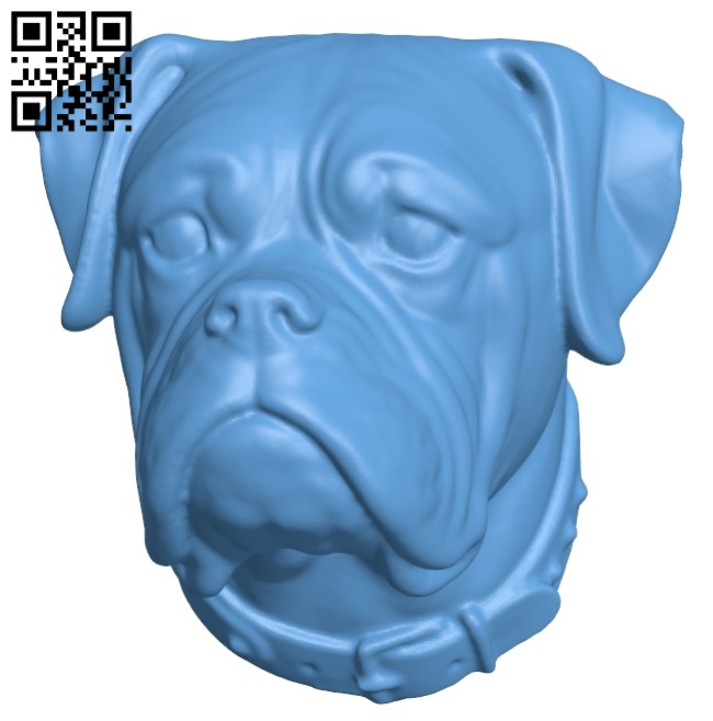 Boxer head - dog B009309 file obj free download 3D Model for CNC and 3d printer