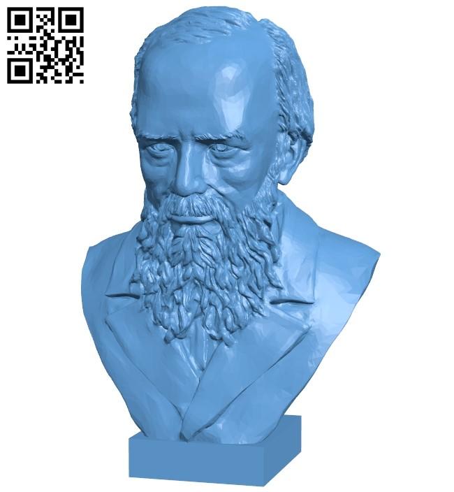 Dostoevsky bust - man B009314 file obj free download 3D Model for CNC and 3d printer