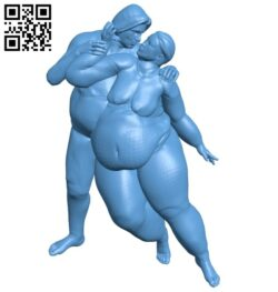 Fat couple dance B009361 file obj free download 3D Model for CNC and 3d printer