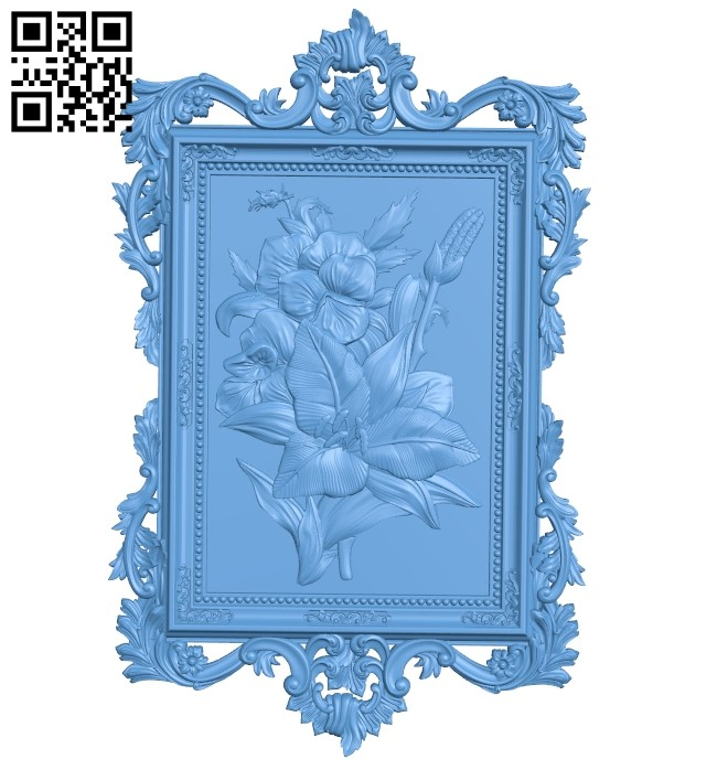 Flower painting A006171 download free stl files 3d model for CNC wood carving