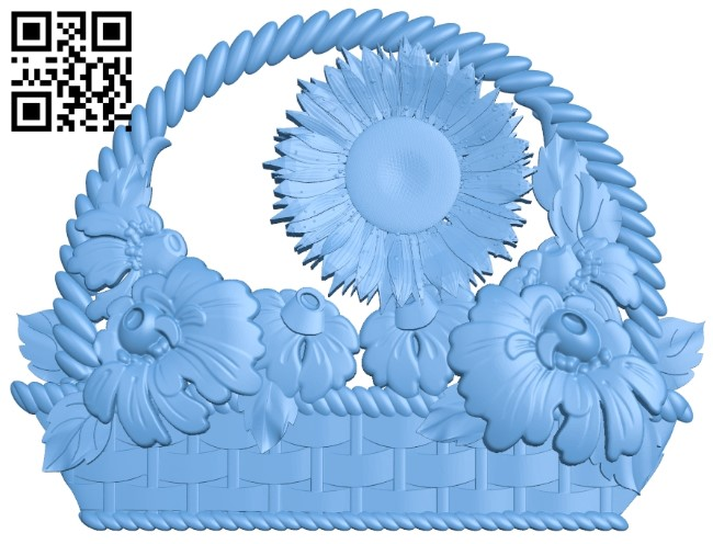 Flower painting A006173 download free stl files 3d model for CNC wood carving