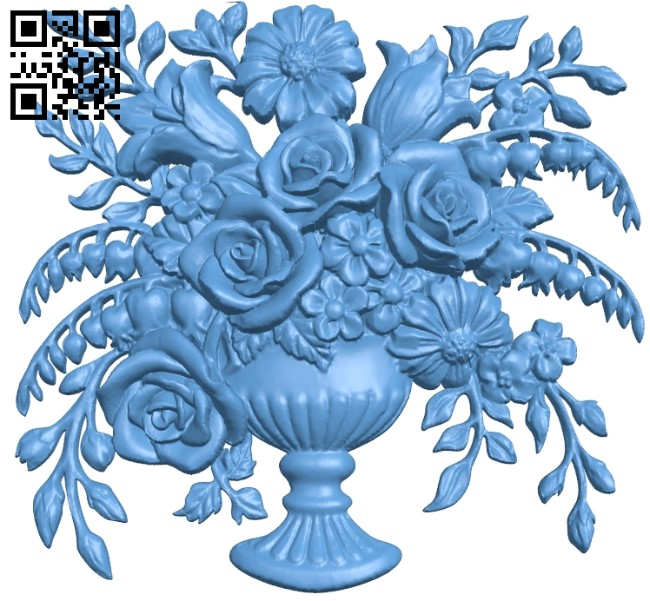 Flower painting A006175 download free stl files 3d model for CNC wood carving