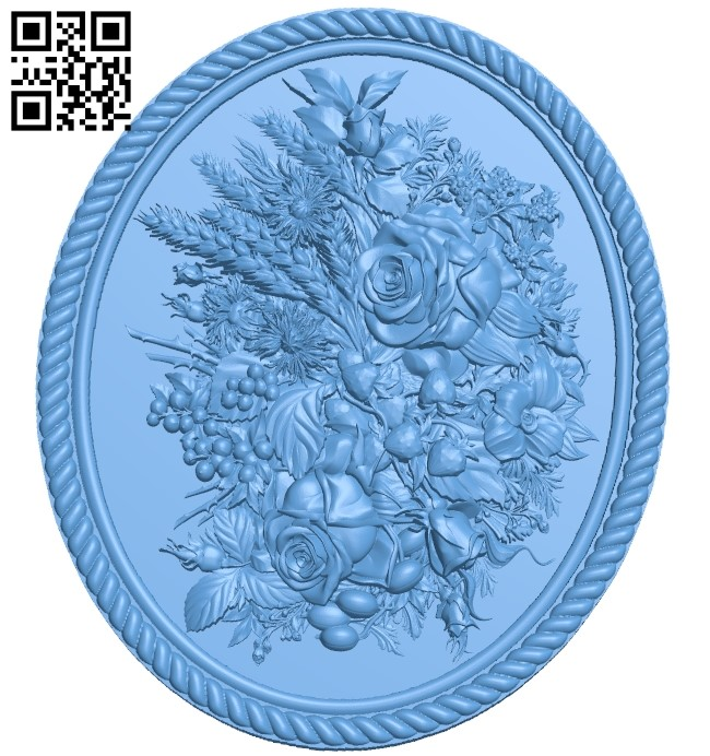 Flower painting A006177 download free stl files 3d model for CNC wood carving