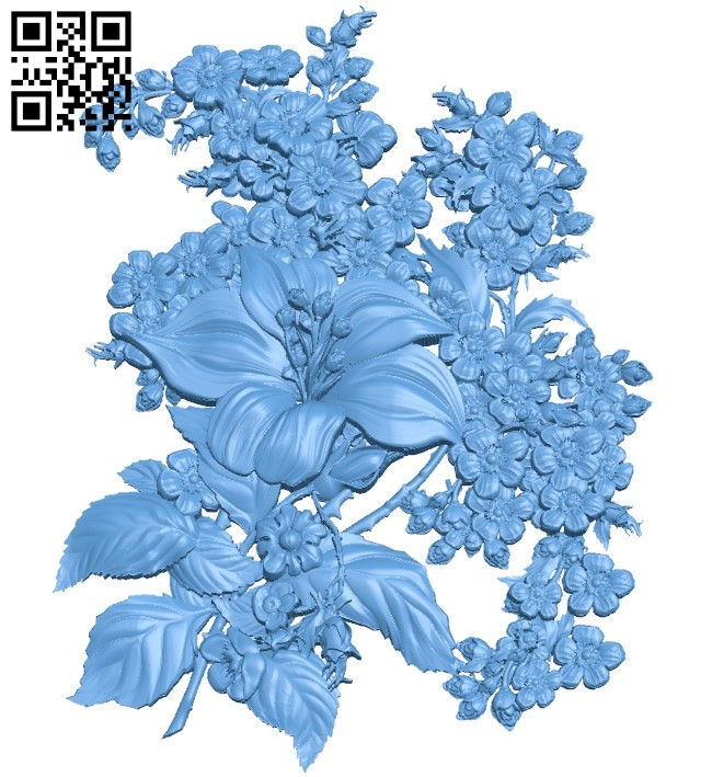 Flower painting A006178 download free stl files 3d model for CNC wood carving