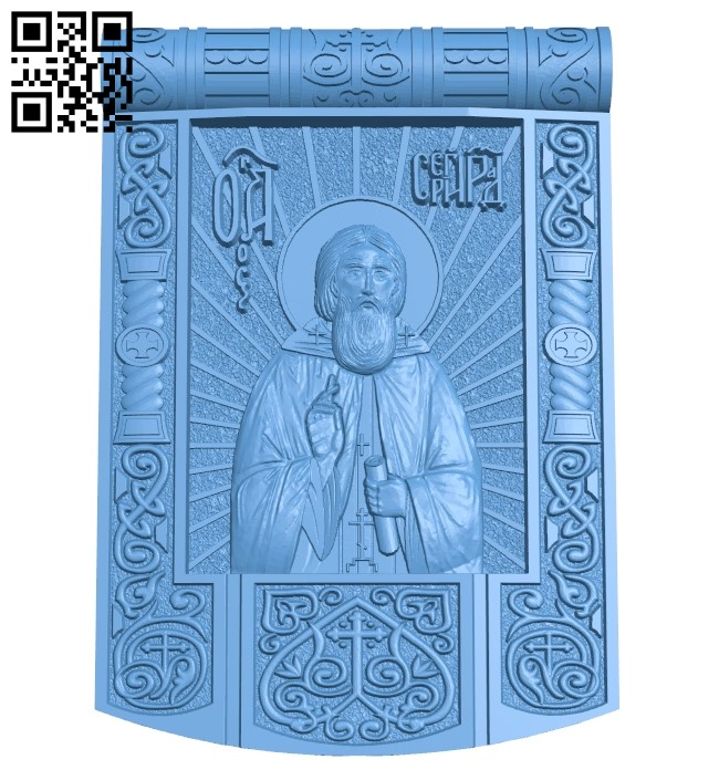 Icon Saint Sergius A006159 download free stl files 3d model for CNC wood carving
