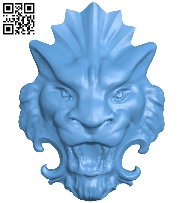 Lion head pattern A006233 download free stl files 3d model for CNC wood carving