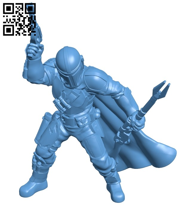 Mandalorian B009376 file obj free download 3D Model for CNC and 3d printer