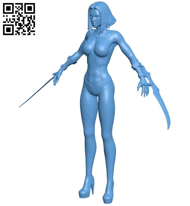 Miss Bloodrayne B009261 file obj free download 3D Model for CNC and 3d printer